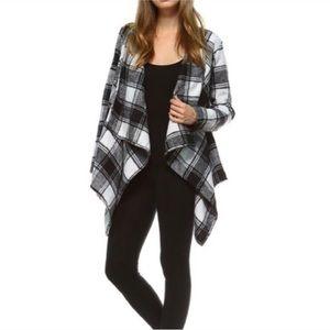Jackets & Blazers - Black/ivory tartan plaid jacket